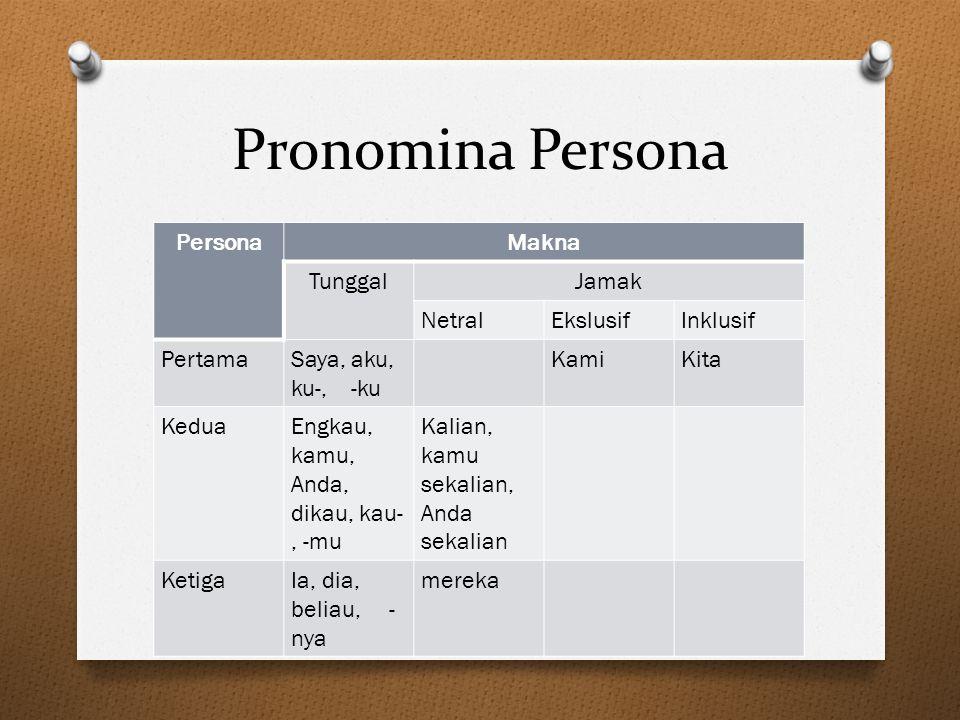 Pronomina Persona PersonaMakna TunggalJamak NetralEkslusifInklusif PertamaSaya, aku, ku-, -ku KamiKita KeduaEngkau, kamu, Anda, dikau, kau-, -mu Kalia