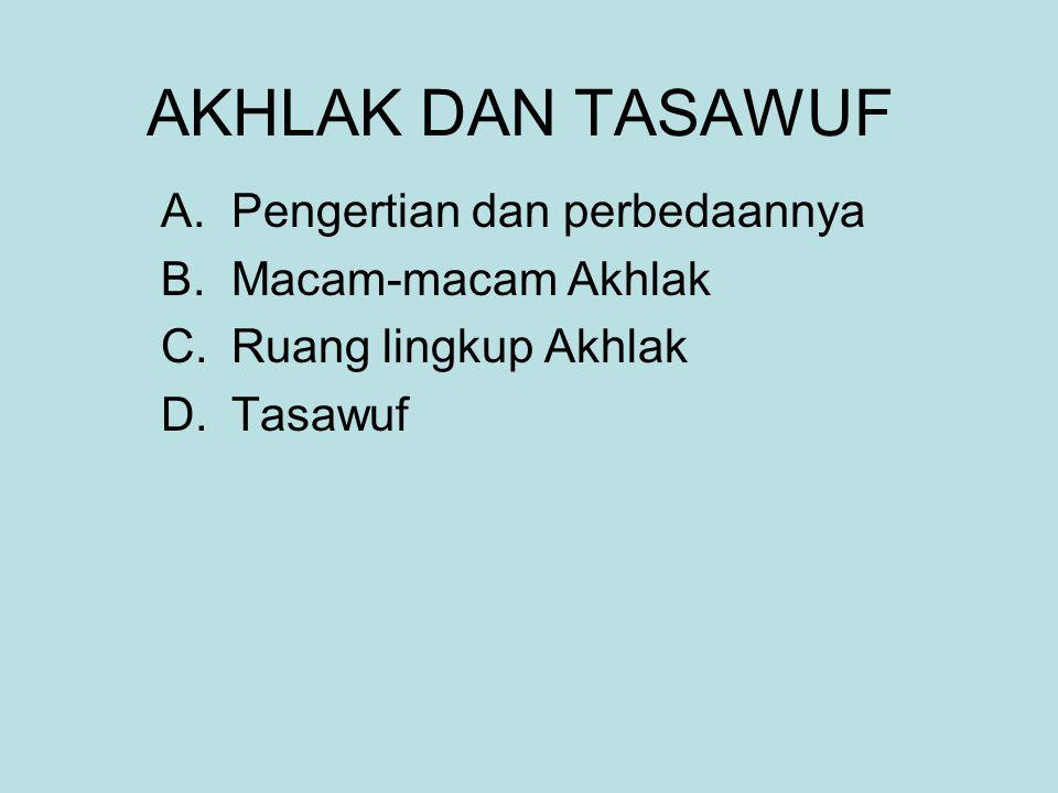 AKHLAK DAN TASAWUF A.Pengertian dan perbedaannya B.Macam-macam Akhlak C.Ruang lingkup Akhlak D.Tasawuf