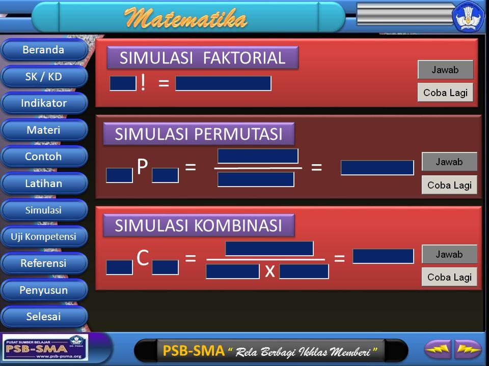 PSB-SMA Rela Berbagi Ikhlas Memberi SIMULASI PERMUTASI P= = SIMULASI FAKTORIAL != SIMULASI KOMBINASI C= x = Beranda SK / KD Indikator Materi Contoh Latihan Simulasi Referensi Penyusun Selesai Uji Kompetensi