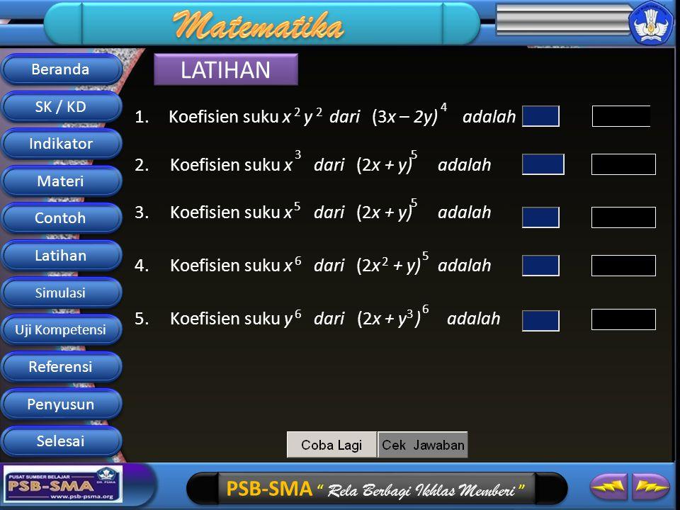 PSB-SMA Rela Berbagi Ikhlas Memberi LATIHAN 1.Koefisien suku x y dari (3x – 2y) adalah 4 22 2.