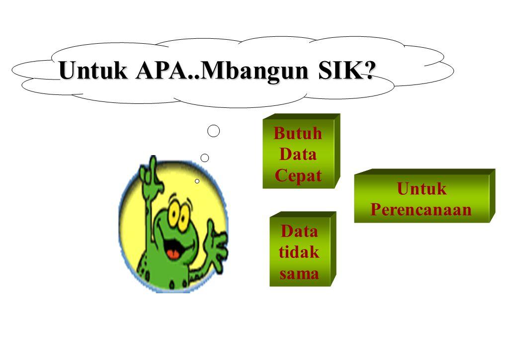 Untuk APA..Mbangun SIK? Butuh Data Cepat Data tidak sama Untuk Perencanaan
