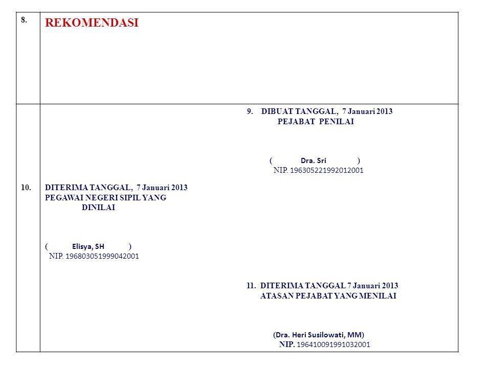 8. REKOMENDASI 9. DIBUAT TANGGAL, 7 Januari 2013 PEJABAT PENILAI ( Dra. Sri ) NIP. 196305221992012001 10.DITERIMA TANGGAL, 7 Januari 2013 PEGAWAI NEGE