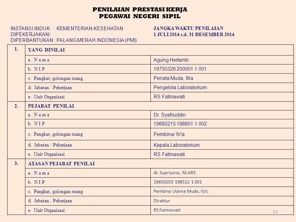 51 PENILAIAN PRESTASI KERJA PEGAWAI NEGERI SIPIL INSTANSI INDUK : KEMENTERIAN KESEHATAN DIPEKERJAKAN/ DIPERBANTUKAN : PALANG MERAH INDONESIA (PMI) JANGKA WAKTU PENILAIAN 1 JULI 2014 s.d.
