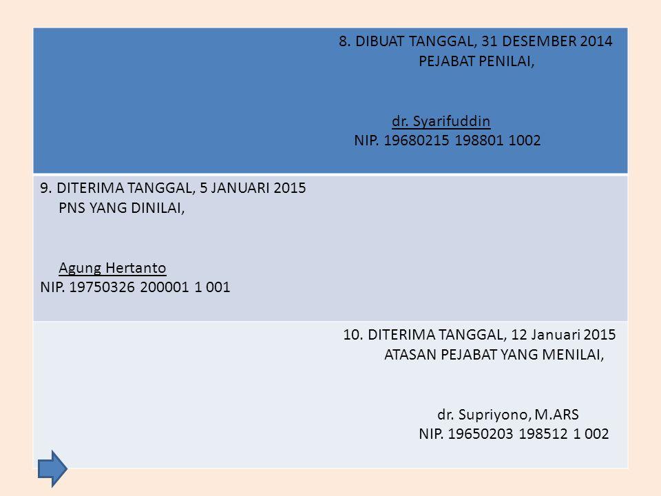 8.DIBUAT TANGGAL, 31 DESEMBER 2014 PEJABAT PENILAI, dr.