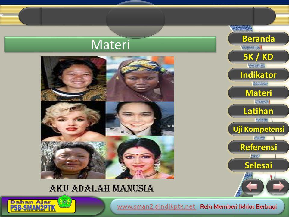 www.sman2.dindikptk.net www.sman2.dindikptk.net Rela Memberi Ikhlas Berbagi www.sman2.dindikptk.net www.sman2.dindikptk.net Rela Memberi Ikhlas Berbagi Materi Beranda SK / KD Indikator Materi Latihan Uji Kompetensi Referensi Selesai AKU ADALAH MANUSIA