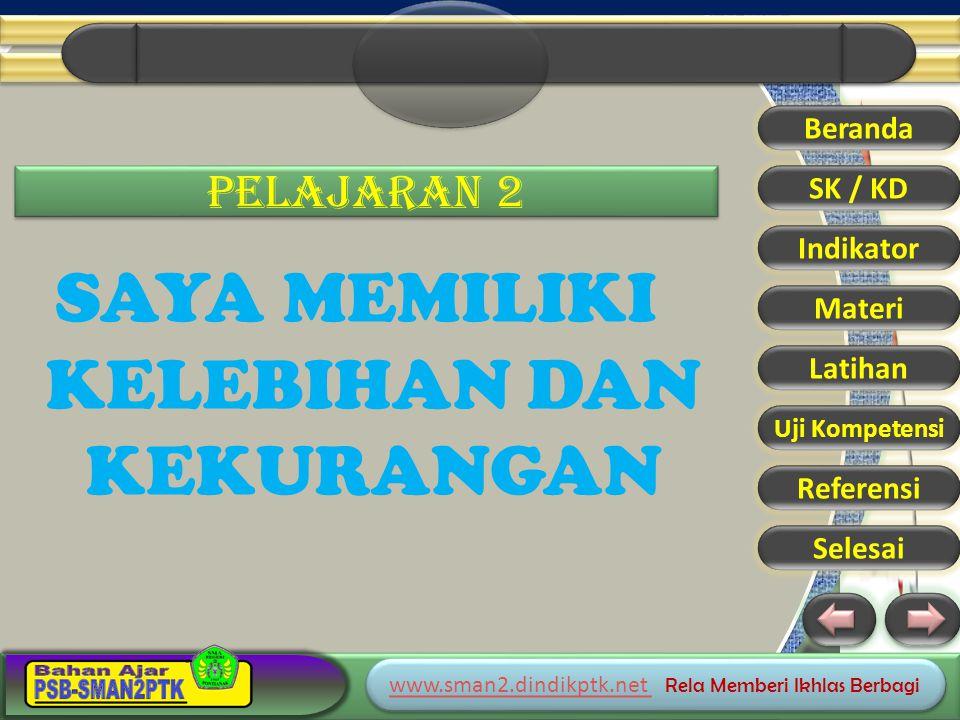 www.sman2.dindikptk.net www.sman2.dindikptk.net Rela Memberi Ikhlas Berbagi www.sman2.dindikptk.net www.sman2.dindikptk.net Rela Memberi Ikhlas Berbagi PELAJARAN 2 SAYA MEMILIKI KELEBIHAN DAN KEKURANGAN Beranda SK / KD Indikator Materi Latihan Uji Kompetensi Referensi Selesai
