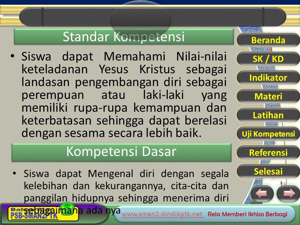 www.sman2.dindikptk.net www.sman2.dindikptk.net Rela Memberi Ikhlas Berbagi www.sman2.dindikptk.net www.sman2.dindikptk.net Rela Memberi Ikhlas Berbagi Materi Beranda SK / KD Indikator Materi Latihan Uji Kompetensi Referensi Selesai CANTIK SIAPAKAH; DIA ATAU ENGKAU
