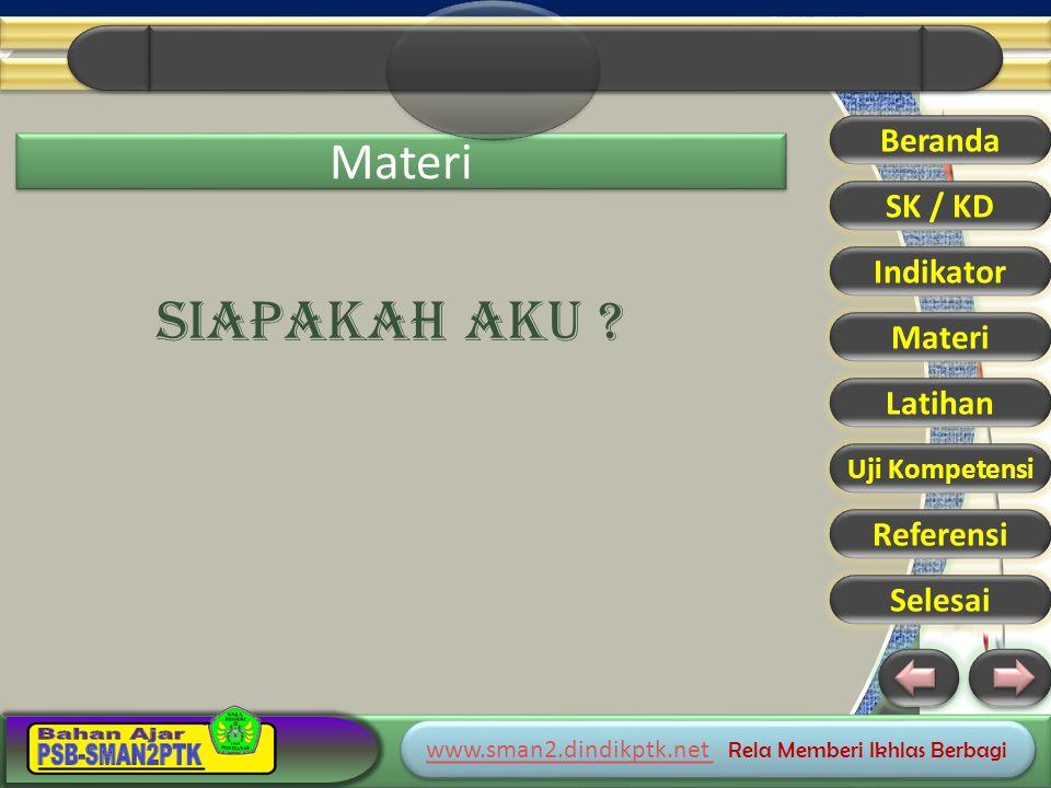 www.sman2.dindikptk.net www.sman2.dindikptk.net Rela Memberi Ikhlas Berbagi www.sman2.dindikptk.net www.sman2.dindikptk.net Rela Memberi Ikhlas Berbagi Beranda SK / KD Indikator Materi Latihan Uji Kompetensi Referensi Selesai MANUSIA MAMPU BERKREASI