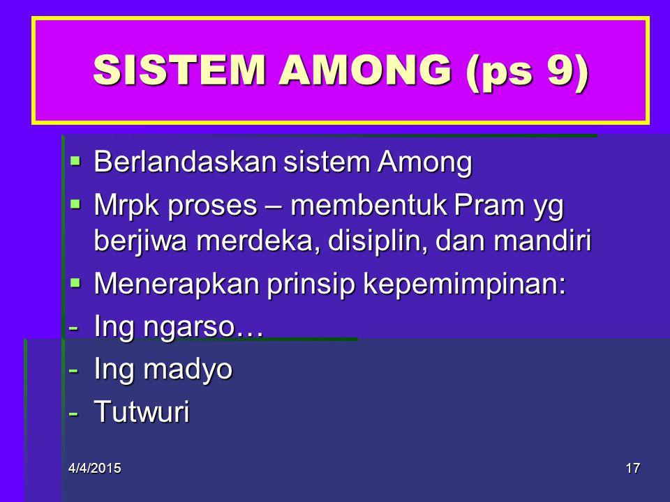 4/4/201516 BAB IV SIS AMONG, PDK, MK, KODE KEHORMATAN, MOTTO & KIASAN DASAR