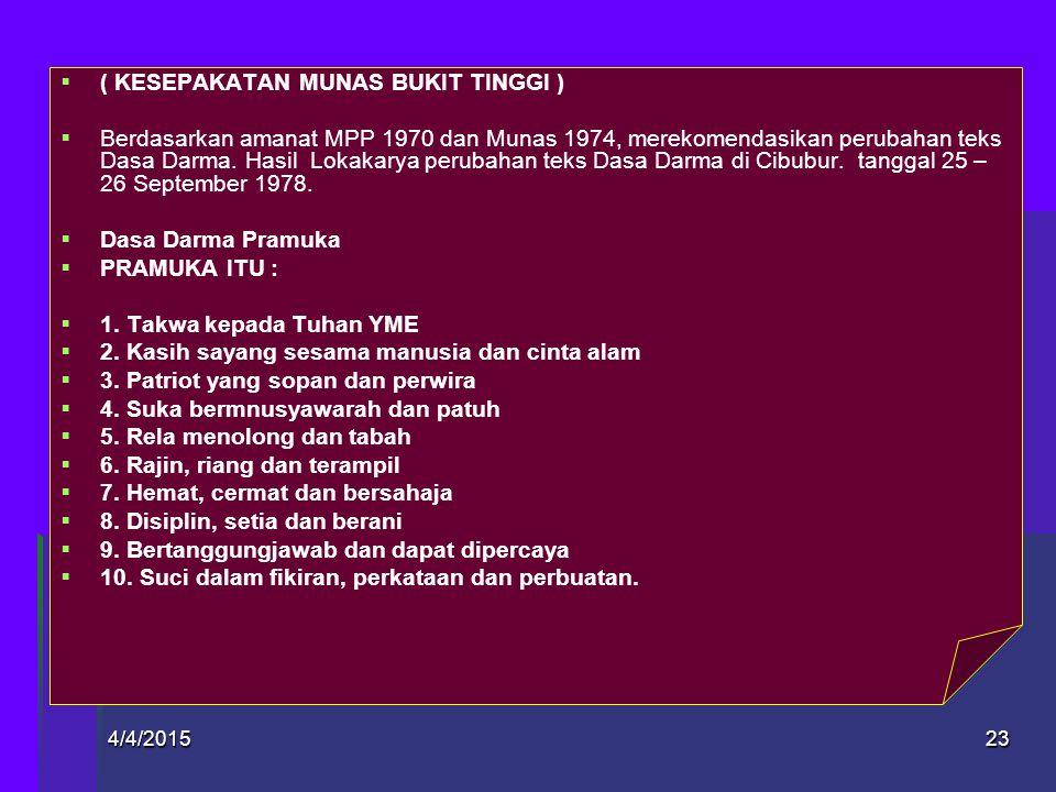 4/4/2015Designed by: JOKO MURSITHO22   II. 1966 – 1974. 1966 HASIL MUKER ANPUDA   1. Kami Pramuka Indonesia, bertakwa kepada Tuhan YME   2. Kami