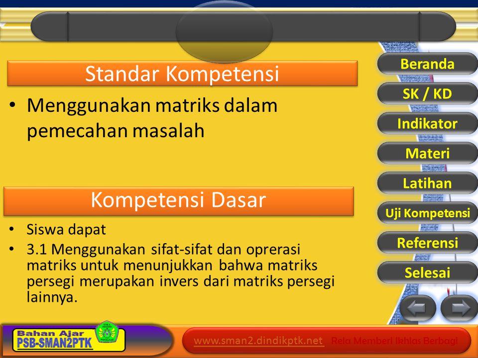 www.sman2.dindikptk.net www.sman2.dindikptk.net Rela Memberi Ikhlas Berbagi www.sman2.dindikptk.net www.sman2.dindikptk.net Rela Memberi Ikhlas Berbagi Standar Kompetensi Menggunakan matriks dalam pemecahan masalah Kompetensi Dasar Siswa dapat 3.1 Menggunakan sifat-sifat dan oprerasi matriks untuk menunjukkan bahwa matriks persegi merupakan invers dari matriks persegi lainnya.