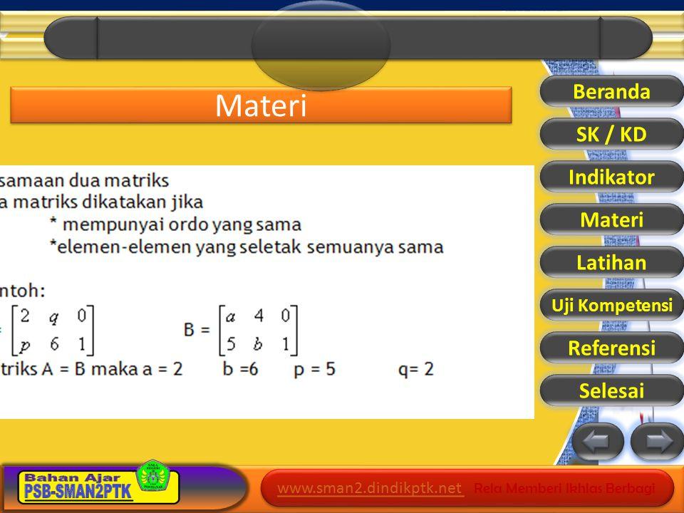 www.sman2.dindikptk.net www.sman2.dindikptk.net Rela Memberi Ikhlas Berbagi www.sman2.dindikptk.net www.sman2.dindikptk.net Rela Memberi Ikhlas Berbagi Latihan Beranda SK / KD Indikator Materi Latihan Uji Kompetensi Referensi Selesai
