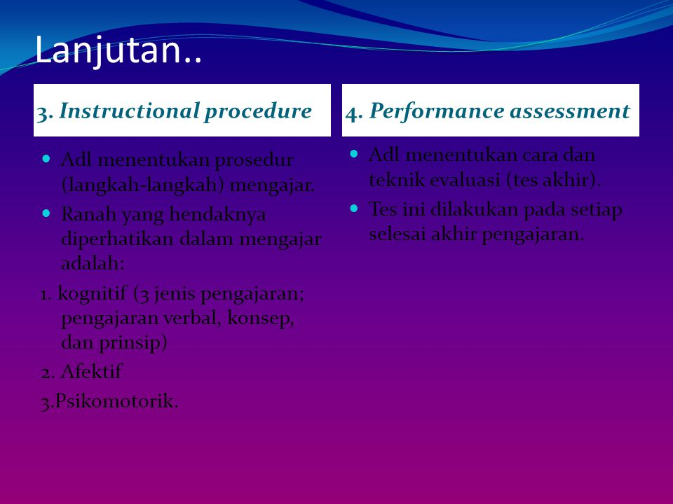 Lanjutan.. 3. Instructional procedure4. Performance assessment Adl menentukan prosedur (langkah-langkah) mengajar. Ranah yang hendaknya diperhatikan d