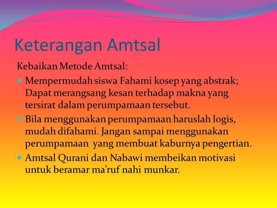 Keterangan Amtsal Kebaikan Metode Amtsal: Mempermudah siswa Fahami kosep yang abstrak; Dapat merangsang kesan terhadap makna yang tersirat dalam perum