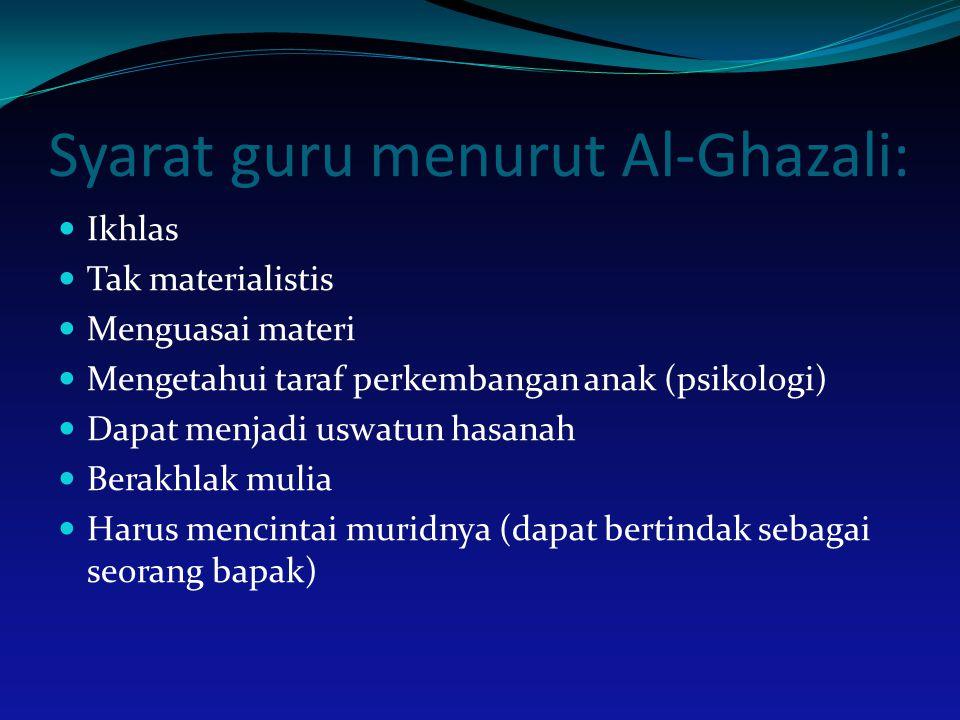 Syarat guru menurut Al-Ghazali: Ikhlas Tak materialistis Menguasai materi Mengetahui taraf perkembangan anak (psikologi) Dapat menjadi uswatun hasanah