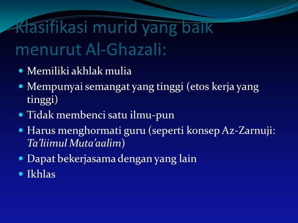 Klasifikasi murid yang baik menurut Al-Ghazali: Memiliki akhlak mulia Mempunyai semangat yang tinggi (etos kerja yang tinggi) Tidak membenci satu ilmu