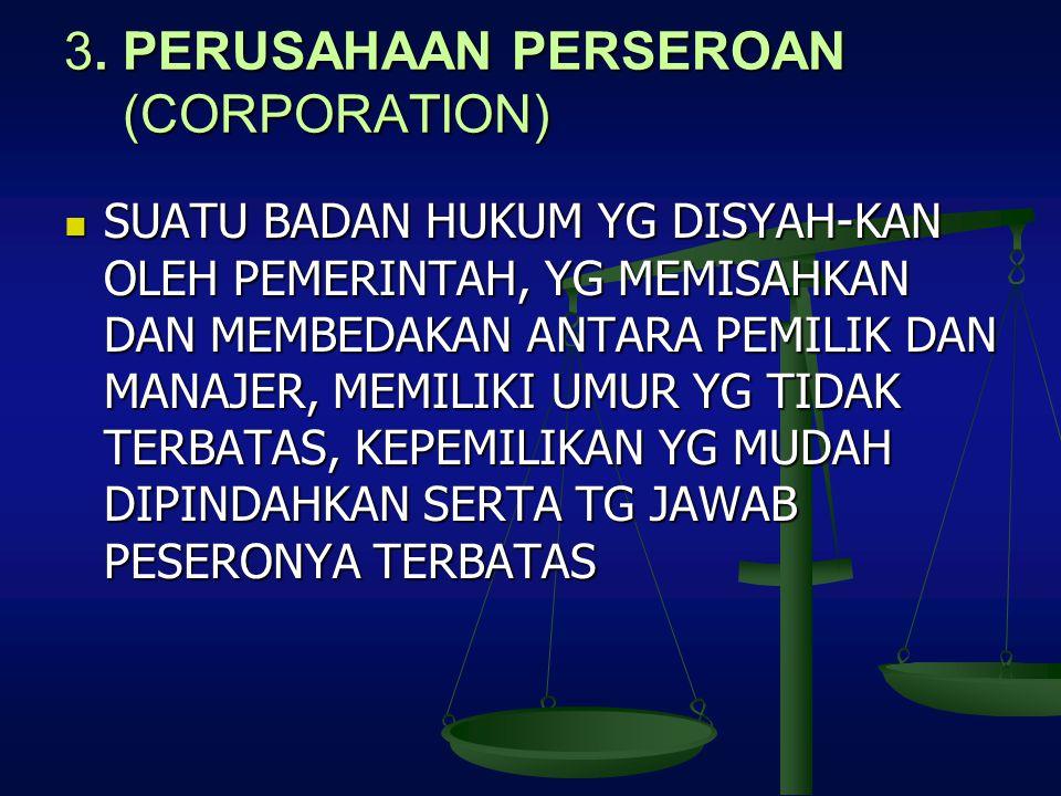 3. PERUSAHAAN PERSEROAN (CORPORATION) SUATU BADAN HUKUM YG DISYAH-KAN OLEH PEMERINTAH, YG MEMISAHKAN DAN MEMBEDAKAN ANTARA PEMILIK DAN MANAJER, MEMILI