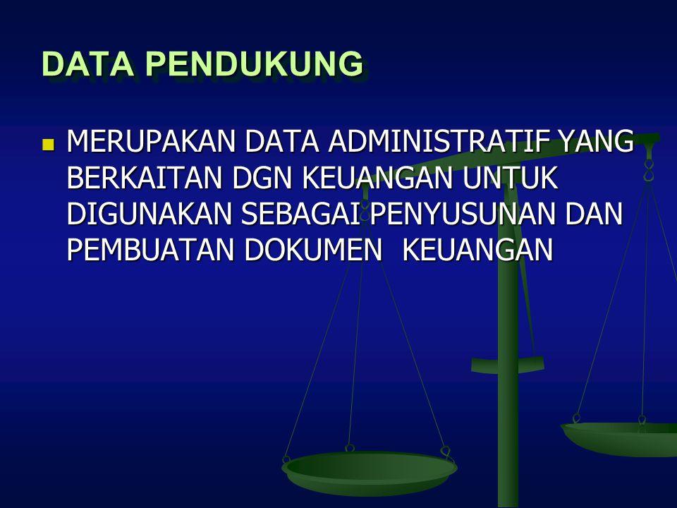 DATA PENDUKUNG MERUPAKAN DATA ADMINISTRATIF YANG BERKAITAN DGN KEUANGAN UNTUK DIGUNAKAN SEBAGAI PENYUSUNAN DAN PEMBUATAN DOKUMEN KEUANGAN MERUPAKAN DA