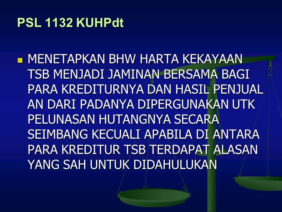 PSL 1132 KUHPdt MENETAPKAN BHW HARTA KEKAYAAN TSB MENJADI JAMINAN BERSAMA BAGI PARA KREDITURNYA DAN HASIL PENJUAL AN DARI PADANYA DIPERGUNAKAN UTK PEL