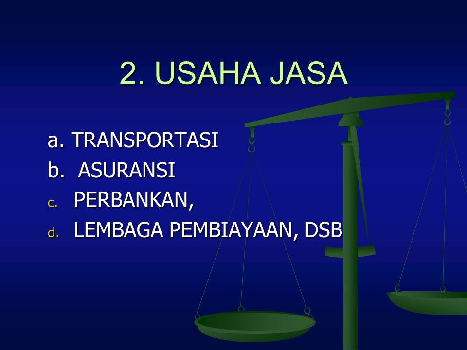 2. USAHA JASA a. TRANSPORTASI b. ASURANSI c. PERBANKAN, d. LEMBAGA PEMBIAYAAN, DSB