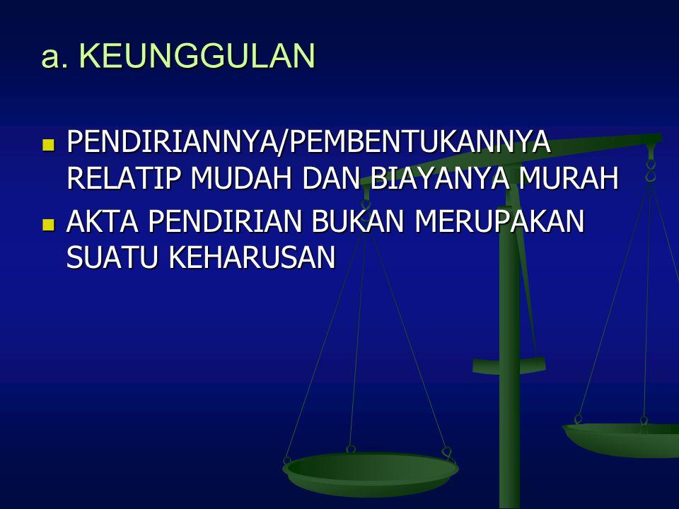 a. KEUNGGULAN PENDIRIANNYA/PEMBENTUKANNYA RELATIP MUDAH DAN BIAYANYA MURAH PENDIRIANNYA/PEMBENTUKANNYA RELATIP MUDAH DAN BIAYANYA MURAH AKTA PENDIRIAN
