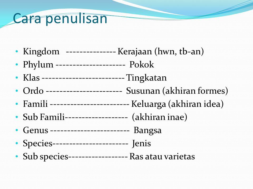 Cara penulisan Kingdom --------------- Kerajaan (hwn, tb-an) Phylum --------------------- Pokok Klas ------------------------- Tingkatan Ordo --------