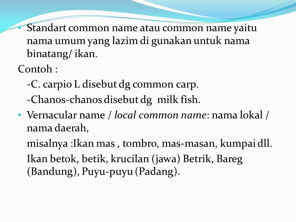 Standart common name atau common name yaitu nama umum yang lazim di gunakan untuk nama binatang/ ikan. Contoh : -C. carpio L disebut dg common carp. -