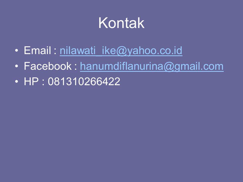 Kontak Email : nilawati_ike@yahoo.co.idnilawati_ike@yahoo.co.id Facebook : hanumdiflanurina@gmail.comhanumdiflanurina@gmail.com HP : 081310266422