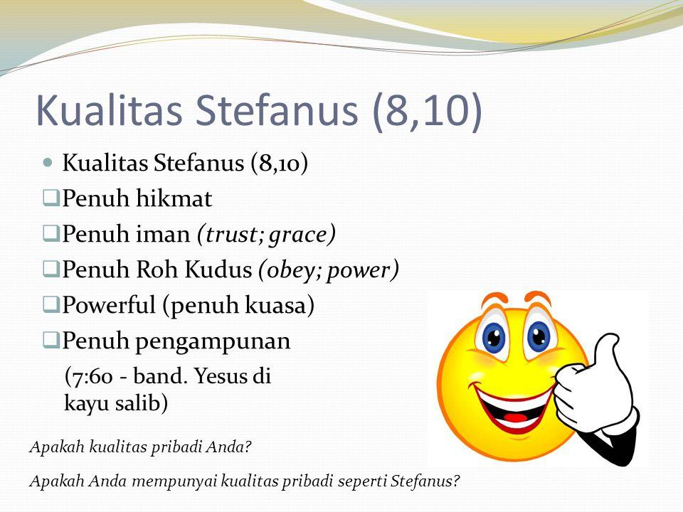 Kualitas Stefanus (8,10)  Penuh hikmat  Penuh iman (trust; grace)  Penuh Roh Kudus (obey; power)  Powerful (penuh kuasa)  Penuh pengampunan Apaka
