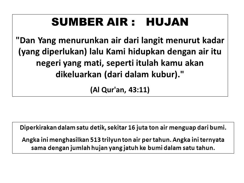 SUMBER AIR : HUJAN Dan Yang menurunkan air dari langit menurut kadar (yang diperlukan) lalu Kami hidupkan dengan air itu negeri yang mati, seperti itulah kamu akan dikeluarkan (dari dalam kubur). (Al Qur an, 43:11) Diperkirakan dalam satu detik, sekitar 16 juta ton air menguap dari bumi.