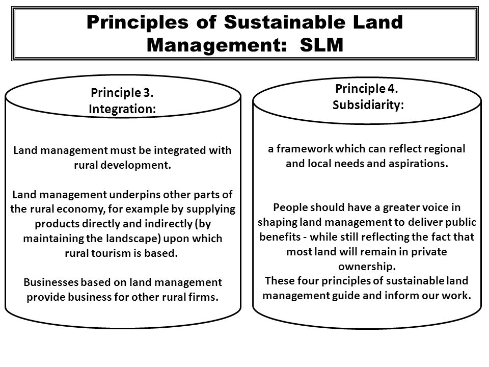 Principles of Sustainable Land Management: SLM Land management must be integrated with rural development. Land management underpins other parts of the