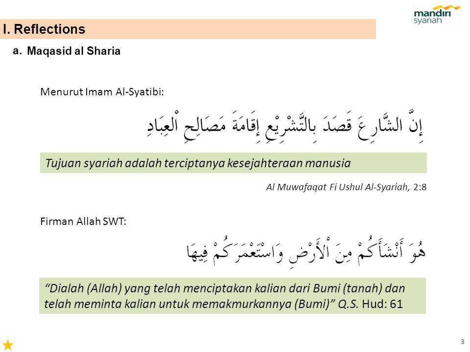 Maqasid al Sharia a. Tujuan syariah adalah terciptanya kesejahteraan manusia Al Muwafaqat Fi Ushul Al-Syariah, 2:8 Menurut Imam Al-Syatibi: Firman All