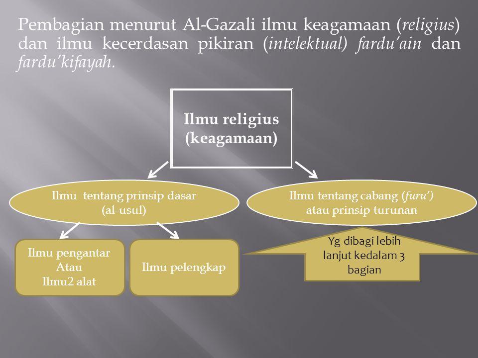 Pembagian menurut Al-Gazali ilmu keagamaan ( religius ) dan ilmu kecerdasan pikiran ( intelektual) fardu'ain dan fardu'kifayah. Ilmu religius (keagama