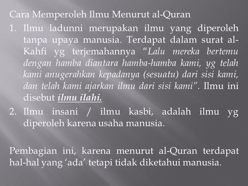 Cara Memperoleh Ilmu Menurut al-Quran 1.Ilmu ladunni merupakan ilmu yang diperoleh tanpa upaya manusia. Terdapat dalam surat al- Kahfi yg terjemahanny