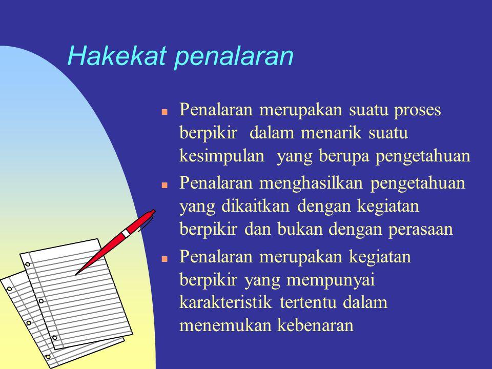 Metode Penelitian Hakekat Penalaran Sumber : Filsafat ilmu sebuah pengantar populer Jujun.S Suriasumantri