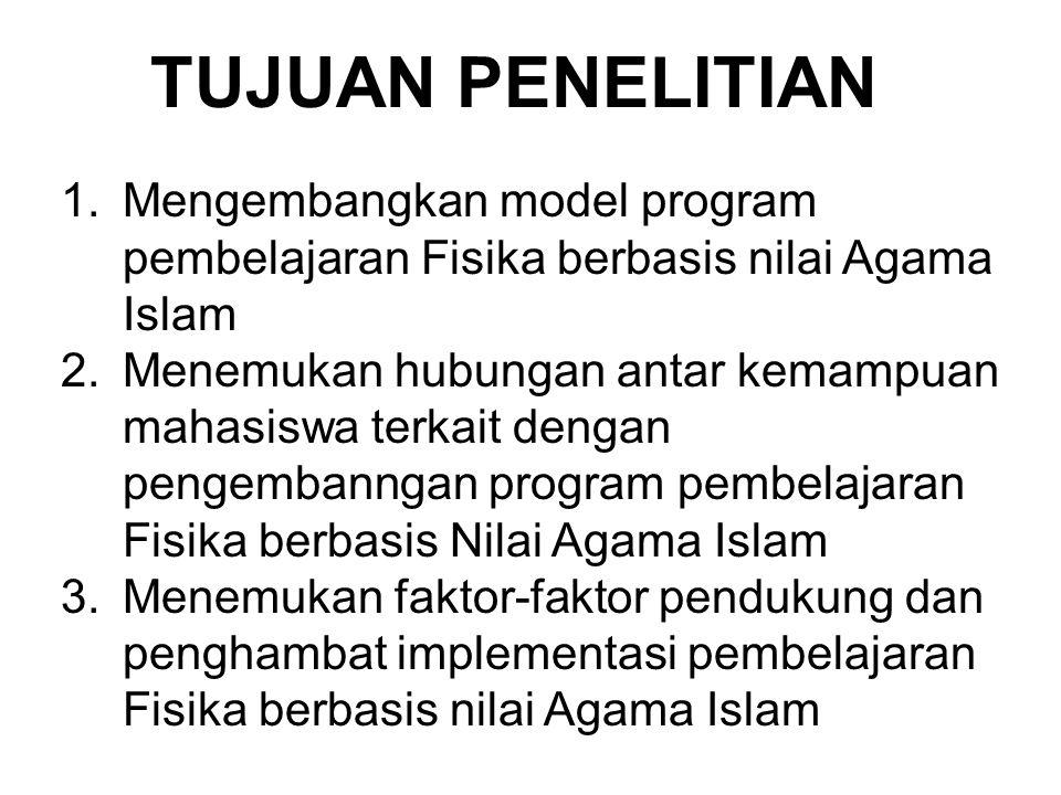 TUJUAN PENELITIAN 1.Mengembangkan model program pembelajaran Fisika berbasis nilai Agama Islam 2.Menemukan hubungan antar kemampuan mahasiswa terkait