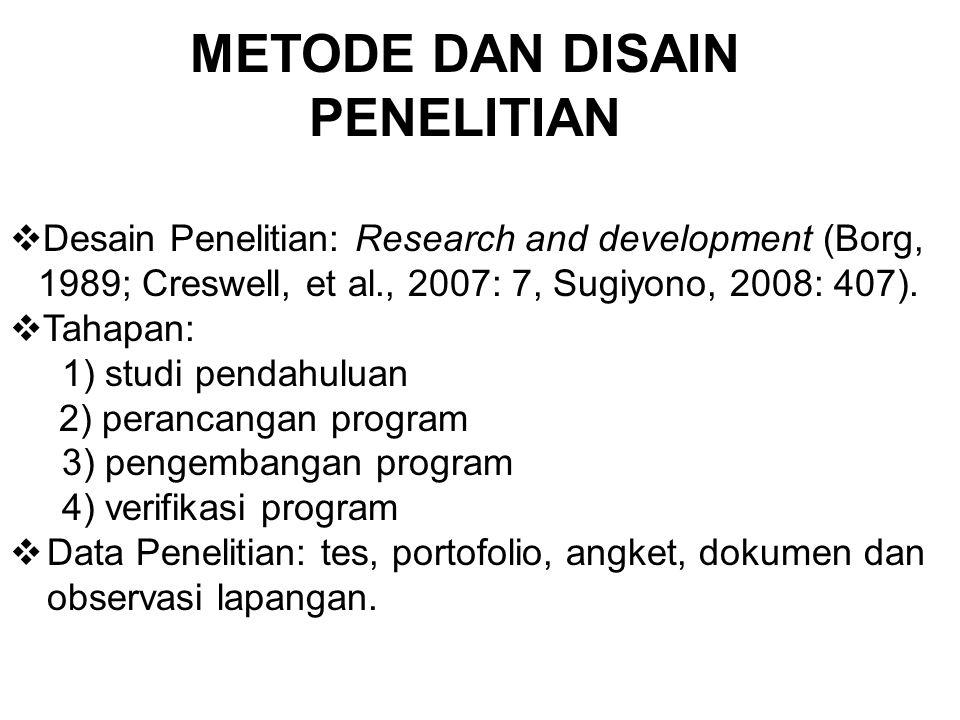 METODE DAN DISAIN PENELITIAN  Desain Penelitian: Research and development (Borg, 1989; Creswell, et al., 2007: 7, Sugiyono, 2008: 407).  Tahapan: 1)