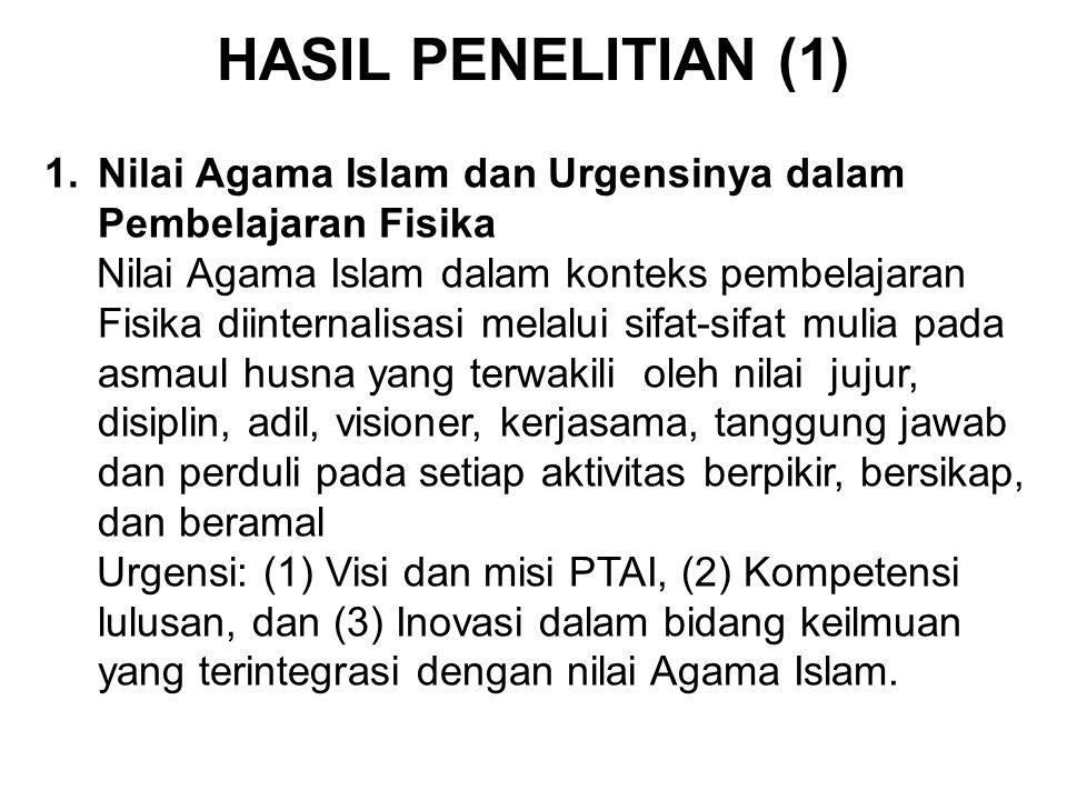 1.Nilai Agama Islam dan Urgensinya dalam Pembelajaran Fisika Nilai Agama Islam dalam konteks pembelajaran Fisika diinternalisasi melalui sifat-sifat m