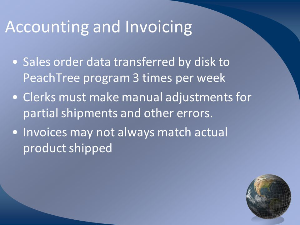 M0254 Enterprise Resources Planning ©2004 Accounting and Invoicing Sales order data transferred by disk to PeachTree program 3 times per week Clerks m