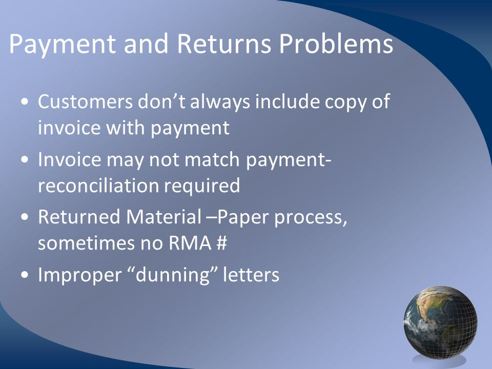 M0254 Enterprise Resources Planning ©2004 Payment and Returns Problems Customers don't always include copy of invoice with payment Invoice may not mat