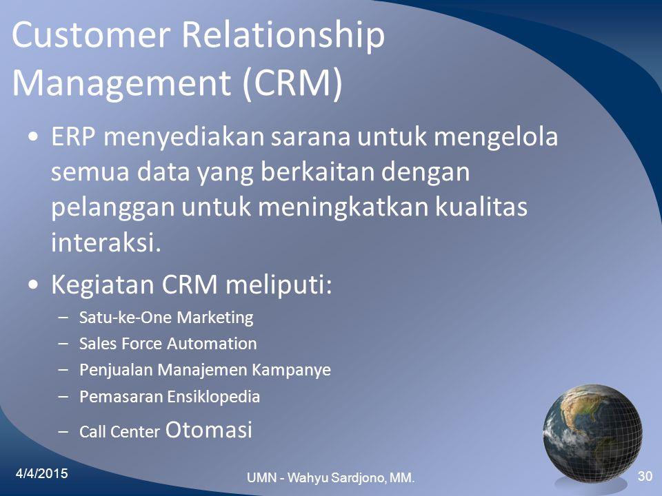 Customer Relationship Management (CRM) ERP menyediakan sarana untuk mengelola semua data yang berkaitan dengan pelanggan untuk meningkatkan kualitas i