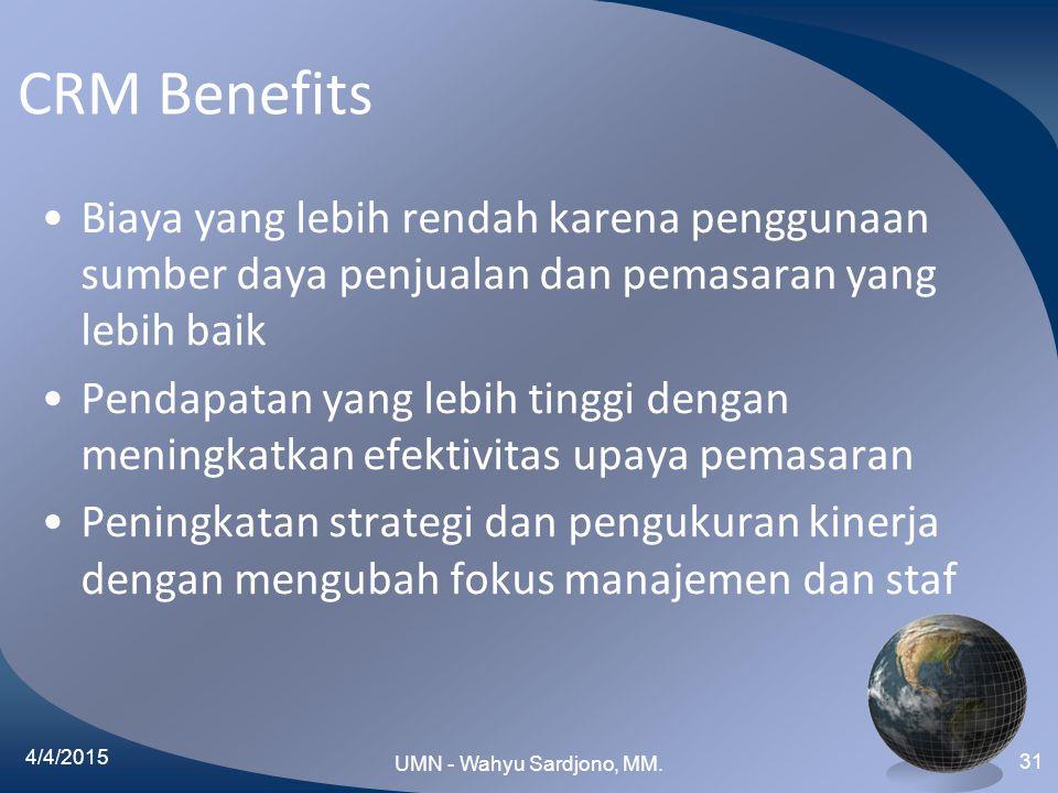 CRM Benefits Biaya yang lebih rendah karena penggunaan sumber daya penjualan dan pemasaran yang lebih baik Pendapatan yang lebih tinggi dengan meningk