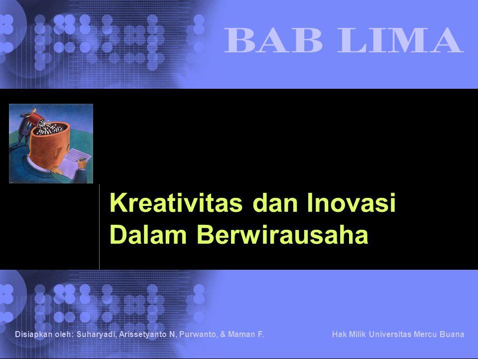 © 2002 IBM Corporation Disiapkan oleh: Suharyadi, Arissetyanto N, Purwanto, & Maman F. Hak Milik Universitas Mercu Buana Kreativitas dan Inovasi Dalam