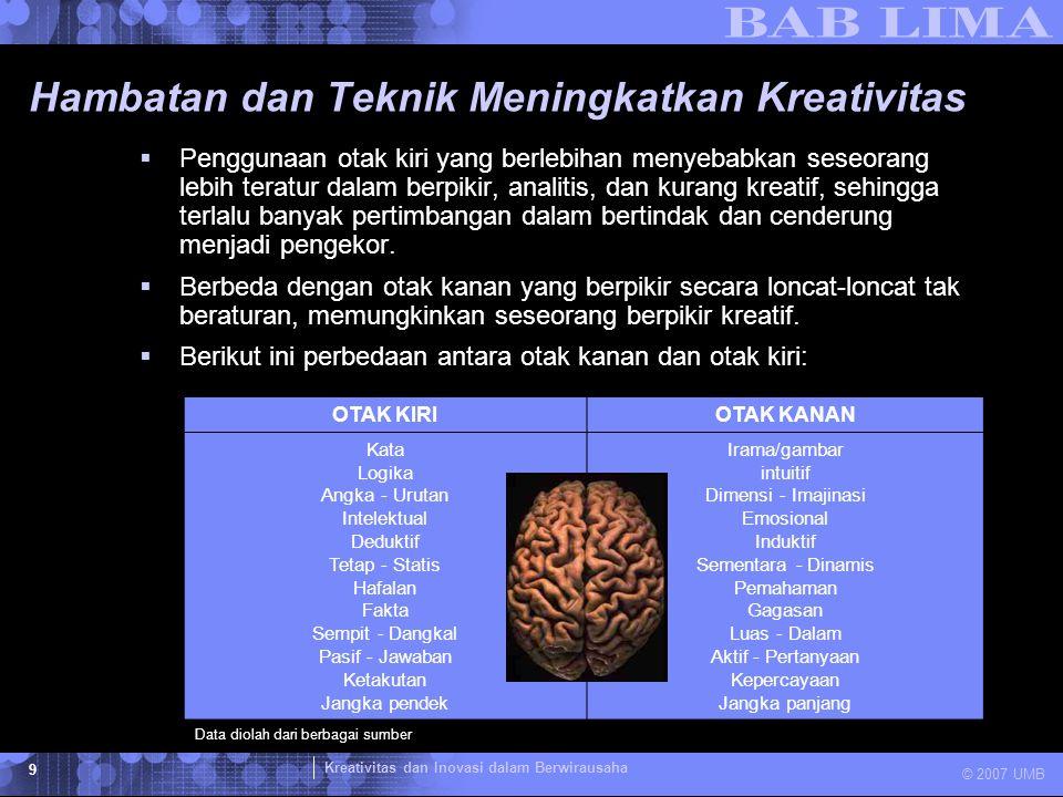 Kreativitas dan Inovasi dalam Berwirausaha © 2007 UMB 9 Hambatan dan Teknik Meningkatkan Kreativitas  Penggunaan otak kiri yang berlebihan menyebabkan seseorang lebih teratur dalam berpikir, analitis, dan kurang kreatif, sehingga terlalu banyak pertimbangan dalam bertindak dan cenderung menjadi pengekor.