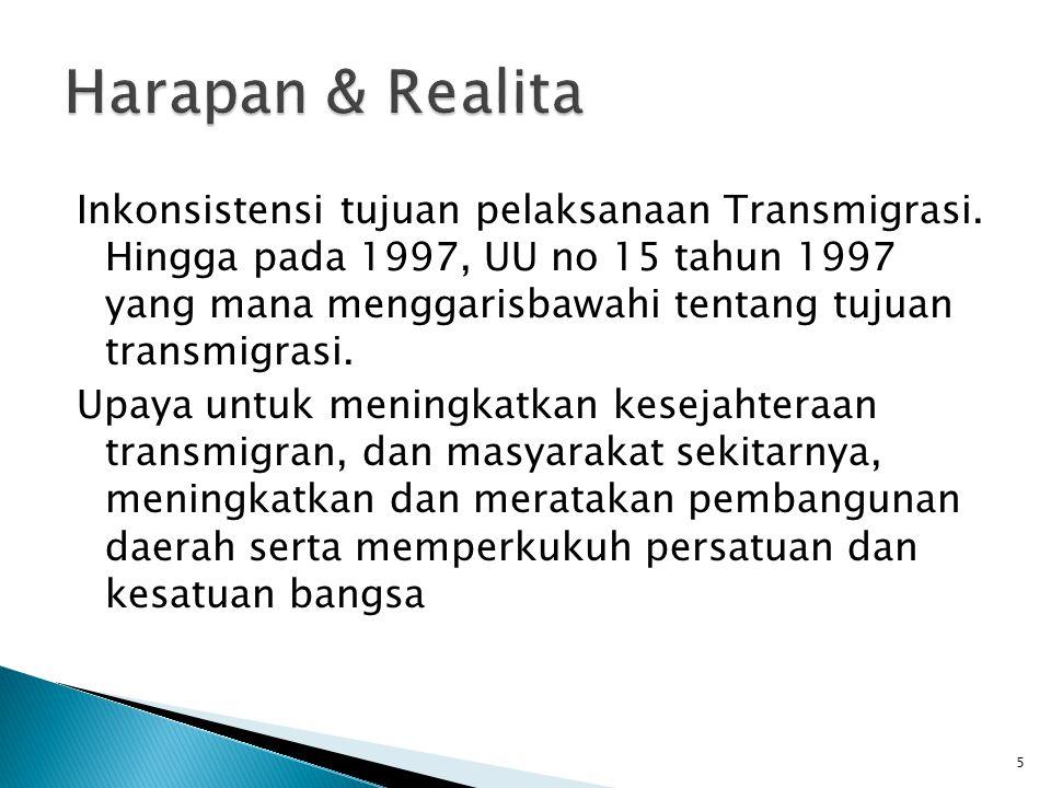 Inkonsistensi tujuan pelaksanaan Transmigrasi.