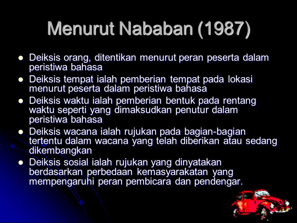 Menurut Nababan (1987) Deiksis orang, ditentikan menurut peran peserta dalam peristiwa bahasa Deiksis orang, ditentikan menurut peran peserta dalam pe