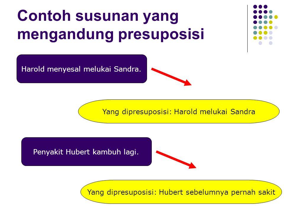 Contoh susunan yang mengandung presuposisi Harold menyesal melukai Sandra. Yang dipresuposisi: Harold melukai Sandra Penyakit Hubert kambuh lagi. Yang