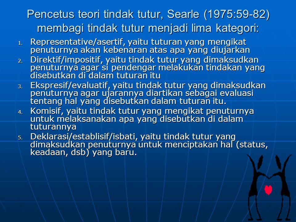Pencetus teori tindak tutur, Searle (1975:59-82) membagi tindak tutur menjadi lima kategori: 1. Representative/asertif, yaitu tuturan yang mengikat pe