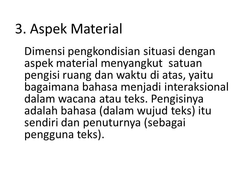 3. Aspek Material Dimensi pengkondisian situasi dengan aspek material menyangkut satuan pengisi ruang dan waktu di atas, yaitu bagaimana bahasa menjad