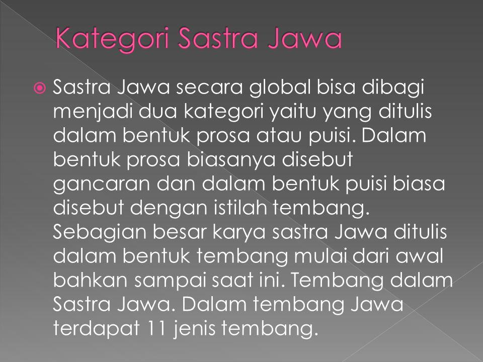  Sastra Jawa secara global bisa dibagi menjadi dua kategori yaitu yang ditulis dalam bentuk prosa atau puisi. Dalam bentuk prosa biasanya disebut gan